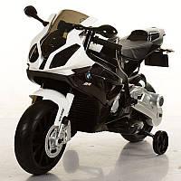 Мотоцикл JT 528E-2 , 2 мотора, аккум 12V/7AH, свет, звук, колеса EVA, 105-68-51см, черно-белый