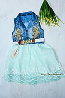 Джинсовое НАРЯДНОЕ платье с шифоновой салатовой юбкой на девочку