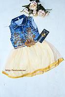 Джинсовое НАРЯДНОЕ платье с шифоновой юбкой беж Цветок на девочку