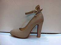 Туфли стильные на высоком толстом каблуке с 33 размера в двух цветах код 389