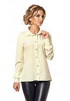 Женская асимметричная рубашка с длинным рукавом лимонного цвета, коллекция осень 2017