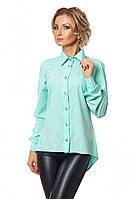 Женская асимметричная рубашка с длинным рукавом мятного цвета, коллекция осень 2017