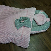 Кокон-гнездышко +ортопедическая подушка для новорожденных + конверт- плед на выписку