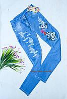 Джинсы голубые рваные Цветы на девочку