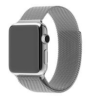 Ремешок браслет миланская петля Milanese loop Apple Watch 42 / 44 mm, Silver, серебро