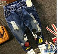 Очень стильные джинсы рваные с Миккимаусом!!!