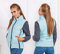 """Женская стильная куртка демисезон 7210 """"Плащёвка Змейки Рукава Трикотаж"""" в расцветках"""