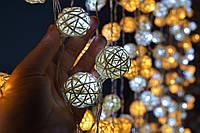 """Новогодняя  гирлянда на батарейках из ротанговых шариков """"Малышка"""". Диаметр шарика - 3 см. , фото 1"""