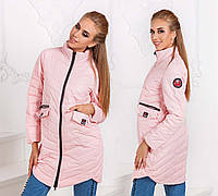 "Женская стильная куртка демисезон 8815 ""Туника Кармашки Эмблема"""