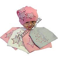 Шапка детская Звездочка для девочек 3-6 лет полуторная вязка Польша