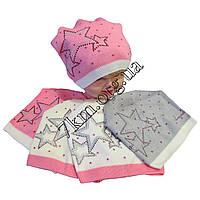Шапка детская Звезда для девочек 4-7 лет полуторная вязка Польша