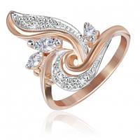 """Серебряное кольцо с фианитами с позолотой """"004"""""""