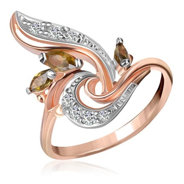 """Серебряное кольцо с имитацией хризолита """"004"""""""