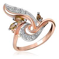 "Серебряное кольцо с имитацией хризолита ""004"", фото 1"