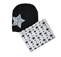 Комплект детский шапка и шарф хомут осенний