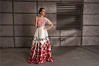 Вечернее  платье (кружевной топ атасная юбка с принтом)