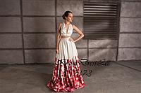 Вечернее платье (атласный топ и юбка с принтом из шелковистого атласа)