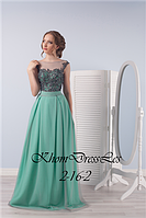 Вечернее платье с шифоновой юбкой и кружевным корсетом