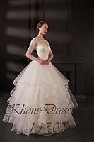 Платье пышное с рукавом и воланами