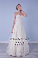 Платье А-силуэта, украшено кружевом