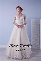 Платье А-силуэта с рукавом из шантильи