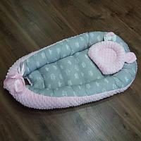 Кокон-гнездышко + ортопедическая подушка для новорожденных из плюша
