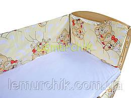 """Защита для детской кроватки 120х60 см, """"Мишки спят"""" желтая"""
