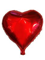 Шар фольгированный  Сердце красное без рисунка, 43 х 48 см