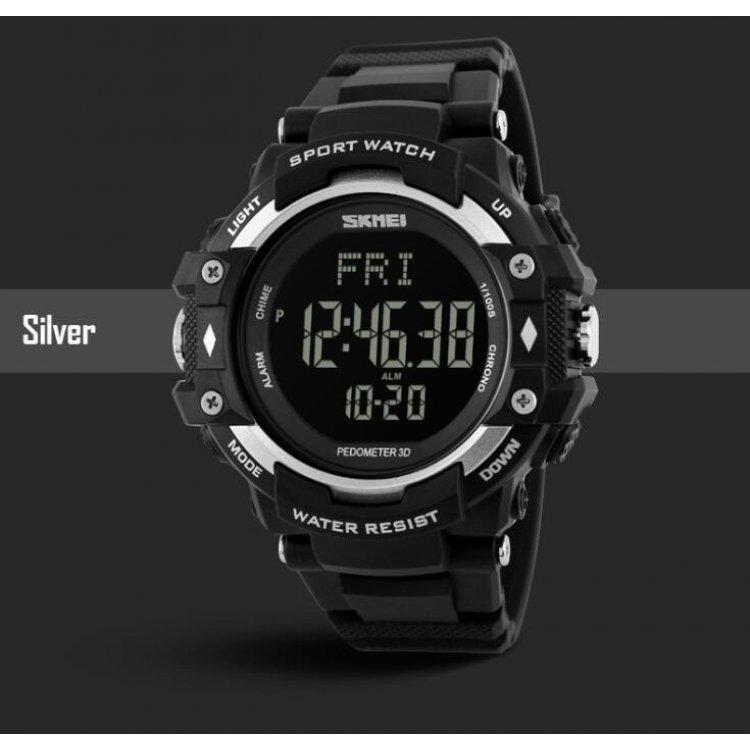Мужские наручные часы с шагомером SKMEI 1180 черный с серебристым