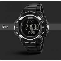 Мужские наручные часы с шагомером SKMEI 1180 черный с серебристым, фото 1