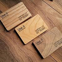 Визитки деревянные из шпона дерева с двухсторонней печатью