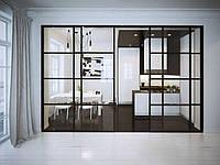 Прозрачная межкомнатная перегородка из стекла
