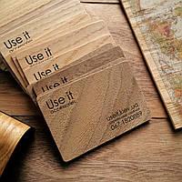 Визитки деревянные из шпона дерева с односторонней печатью, фото 1