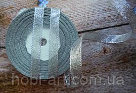 Стрічка парчева 12 мм  срібна