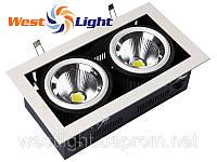 Светильник карданный потолочный 2х20W, Врезные LED светильники Downlight 40W