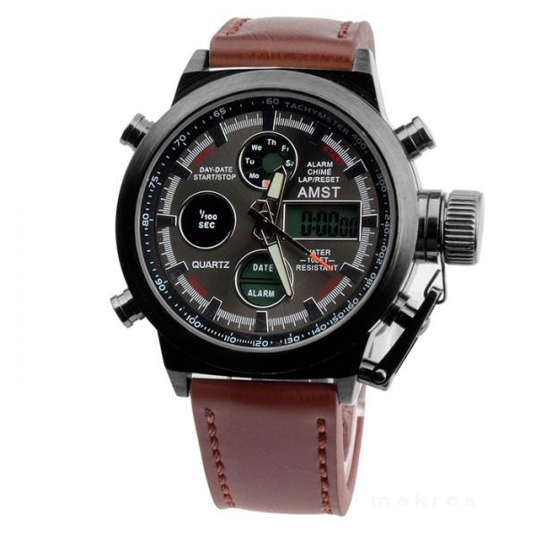 e7760c459ee1 Мужские наручные армейские часы AMST(АМСТ) 3003 (темный металлический  корпус, коричневый кожаный