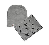 Шапка осенняя и шарф хомут для детей и взрослых