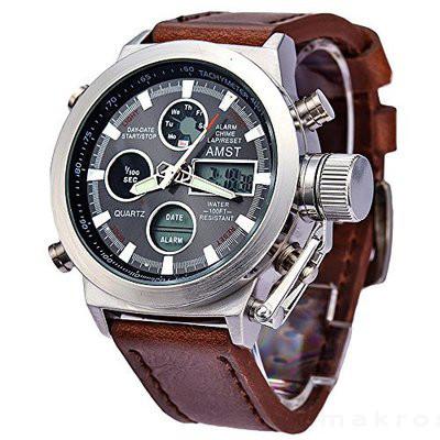 1eb4104b7fbb Мужские наручные армейские часы AMST(АМСТ) 3003 (металлический корпус,  коричневый кожаный ремешок