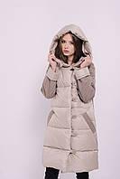 Женское зимнее пальто с утеплителем   Бежевое