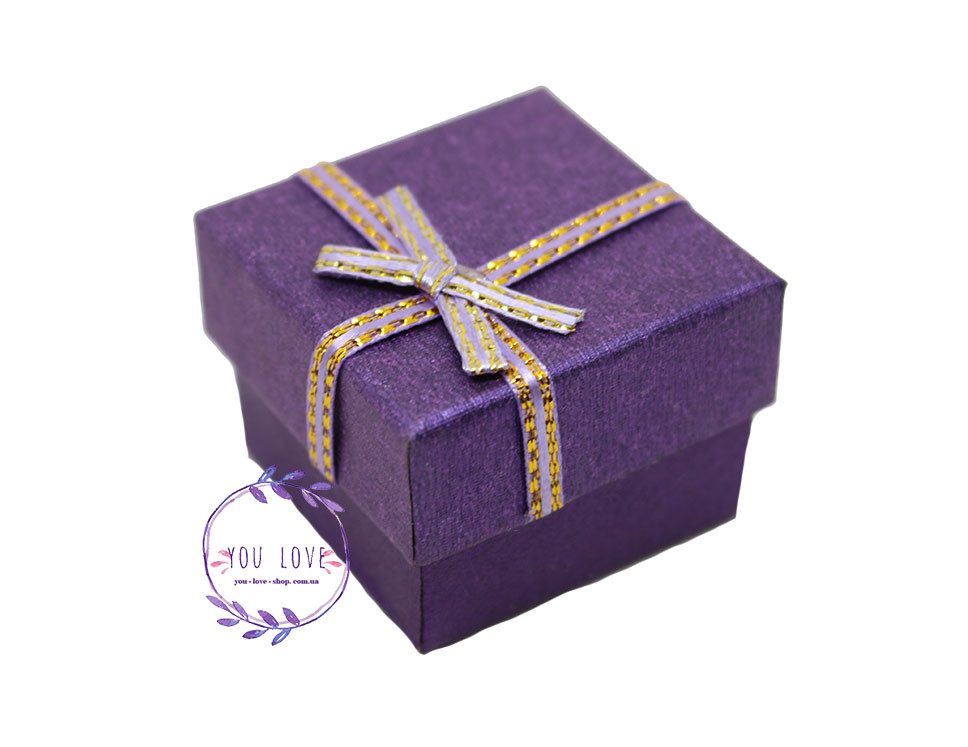 Коробочка Классическая для колец и сережек Розовая Прямоугольная, Фиолетовый