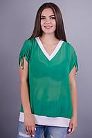 Дениз. Красивая блуза большие размеры. Зеленый.