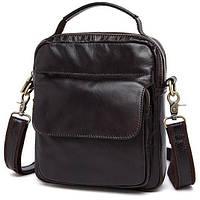 Кожаная темно-коричневая мужская деловая сумка, мессенджер  Bx9073C