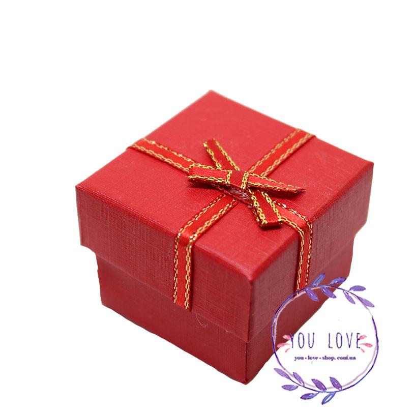 Коробочка Классическая для колец и сережек Розовая Прямоугольная, Красный