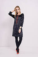 Женское нарядное бархатное платье-туника с длинными рукавами