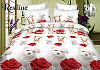 Двуспальное постельное белье 3D Микросатин Клео