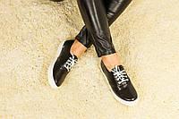 Женские стильные кеды Т-22 кожаные на шнуровке черные