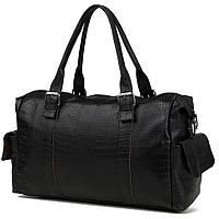 Чёрная большая мужская кожаная сумка в дорогу, травелбег  t9276cr