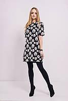 Женское короткое черно-белое платье из жаккарда