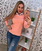 Женский красивый свитер с имитацией рубашки,в расцветках