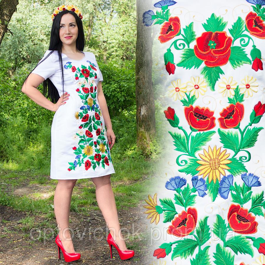 Вышитое атласное платье